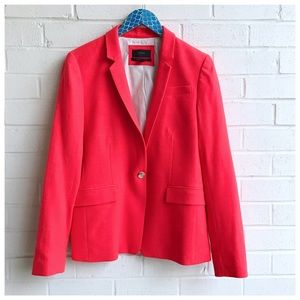 J. Crew Regent Blazer In Orange/Red Wool Flannel